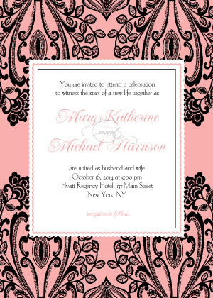 Wedding Invitations - Black Lace