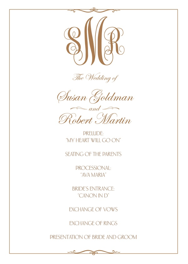 Classic Monogram  Wedding Program  Kleinfeld Paper