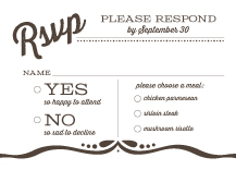 Response Card with menu options