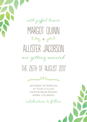 Wedding Invitations - Back to Nature