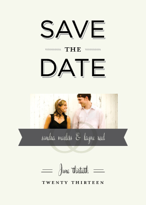 Save the Date Card with photo - Vintage Type