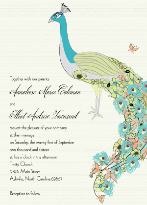 Wedding Invitations - Peacock Butterfly Flower Garden