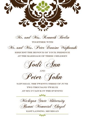 Wedding Invitations - Wedding Damask