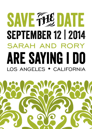 Save the Date Card - Modern Damask
